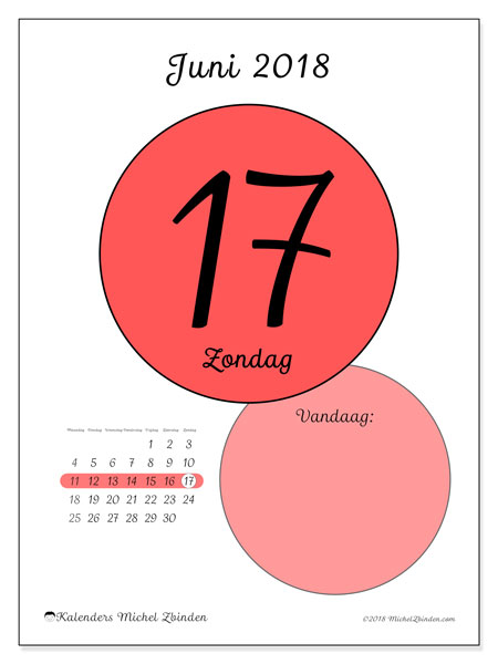 Kalender juni 2018 (45-17MZ). Dagelijkse kalender om gratis te printen.