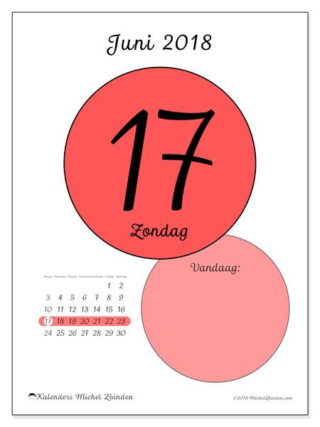 Kalender juni 2018 (45-17ZZ). Dagelijkse kalender om gratis te printen.