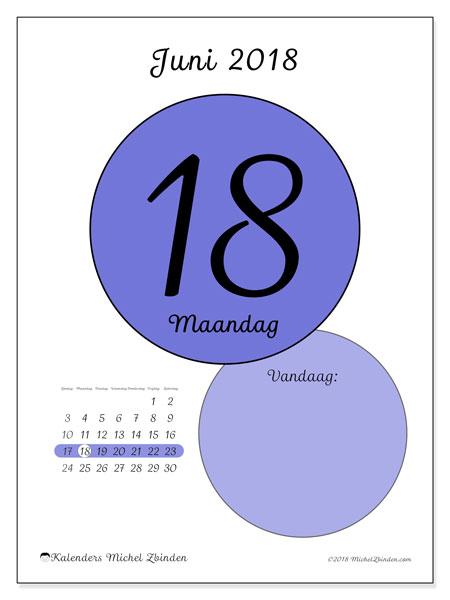Kalender juni 2018 (45-18ZZ). Kalender voor de dag om gratis te printen.
