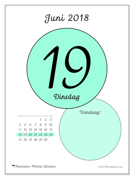 Kalender juni 2018 (45-19MZ). Kalender voor de dag om gratis te printen.