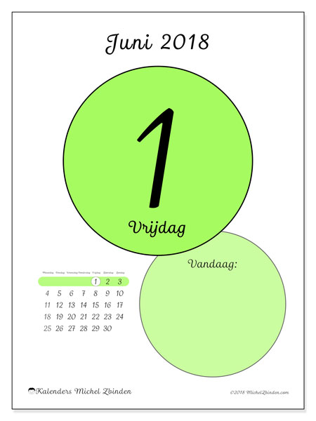 Kalender juni 2018 (45-1MZ). Dagelijkse kalender om gratis te printen.