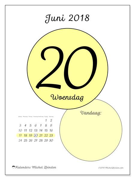 Kalender juni 2018 (45-20ZZ). Kalender voor de dag om gratis te printen.