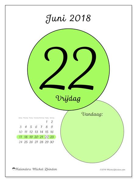 Kalender juni 2018 (45-22ZZ). Kalender voor de dag om gratis te printen.
