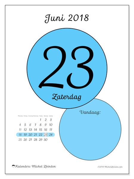 Kalender juni 2018 (45-23MZ). Dagelijkse kalender om gratis te printen.