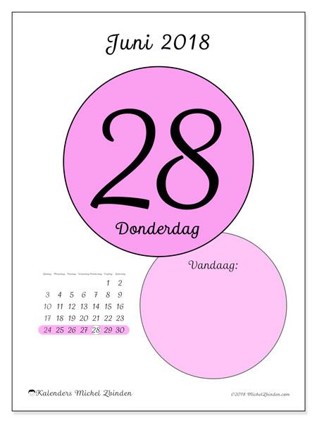 Kalender juni 2018 (45-28ZZ). Kalender voor de dag om gratis te printen.