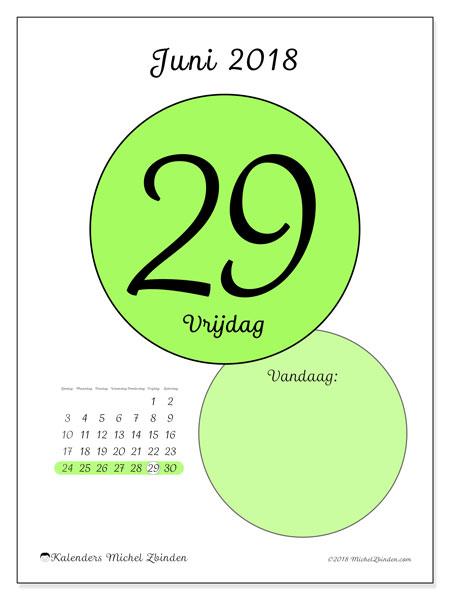 Kalender juni 2018 (45-29ZZ). Dagelijkse kalender om gratis te printen.