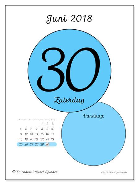 Kalender juni 2018 (45-30MZ). Dagelijkse kalender om gratis te printen.