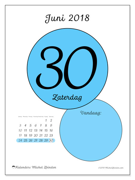 Kalender juni 2018 (45-30ZZ). Dagelijkse kalender om gratis te printen.