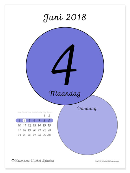 Kalender juni 2018 (45-4ZZ). Dagelijkse kalender om gratis te printen.