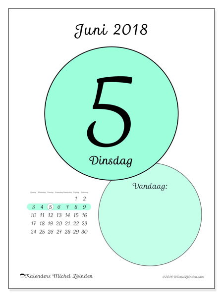Kalender juni 2018 (45-5ZZ). Dagelijkse kalender om gratis te printen.