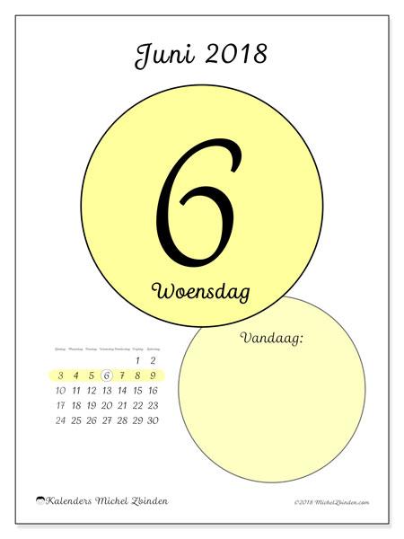 Kalender juni 2018 (45-6ZZ). Kalender voor de dag om gratis te printen.