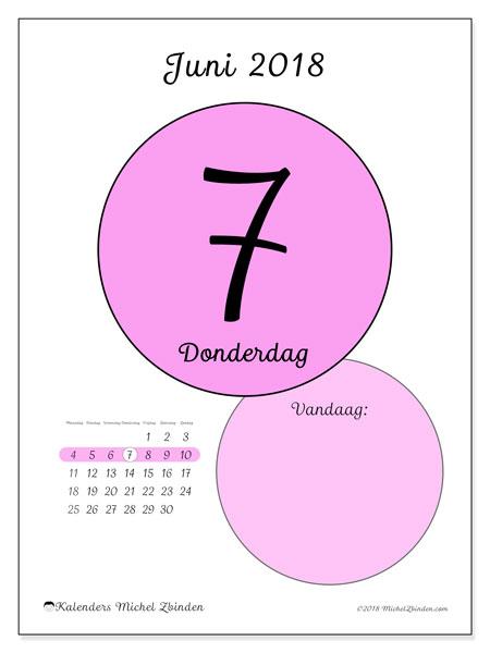 Kalender juni 2018 (45-7MZ). Dagelijkse kalender om gratis te printen.