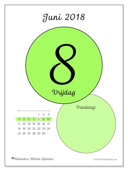Kalender juni 2018 (45-8MZ). Dagelijkse kalender om gratis te printen.