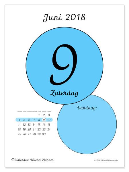 Kalender juni 2018 (45-9MZ). Dagelijkse kalender om gratis te printen.