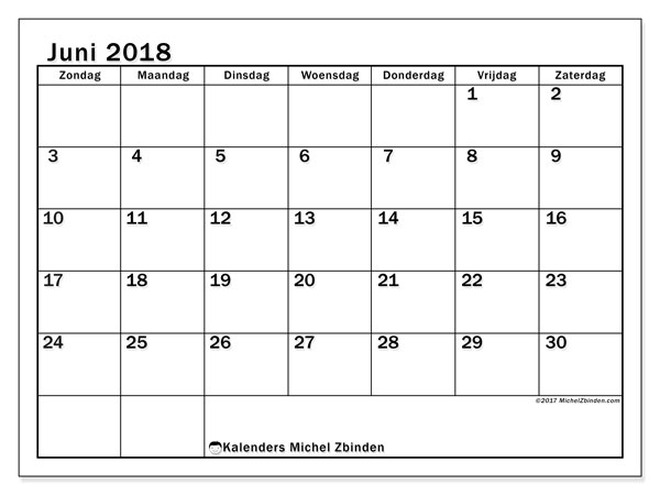 Kalender juni 2018 (50ZZ). Kalender voor de maand die gratis moet worden afgedrukt.