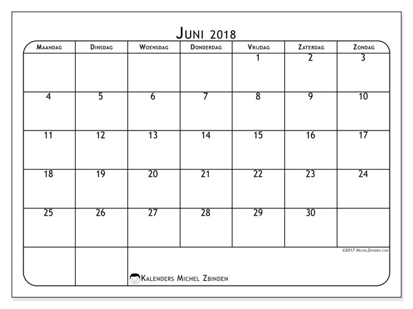 Kalender juni 2018 (51MZ). Gratis afdrukbare kalender.