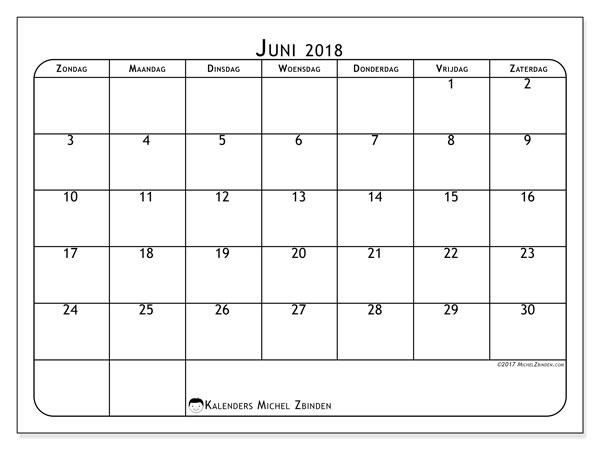 Kalender juni 2018 (51ZZ). Agenda om gratis te printen.