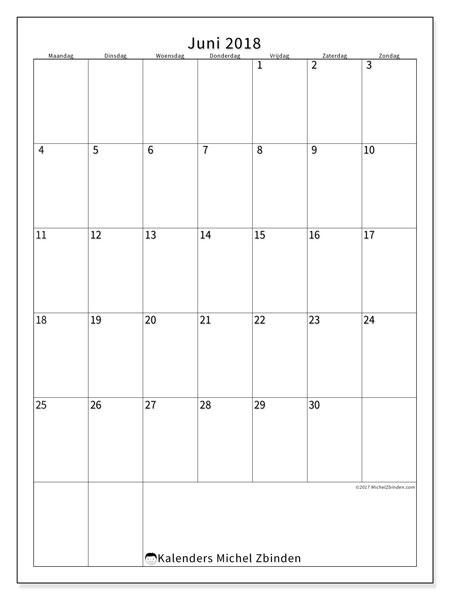 Kalender juni 2018 (52MZ). Kalender voor de maand die gratis moet worden afgedrukt.