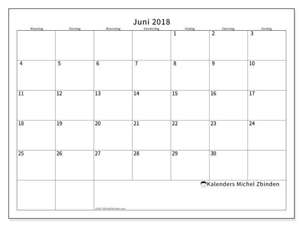 Kalender juni 2018 (53MZ). Gratis afdrukbare kalender.
