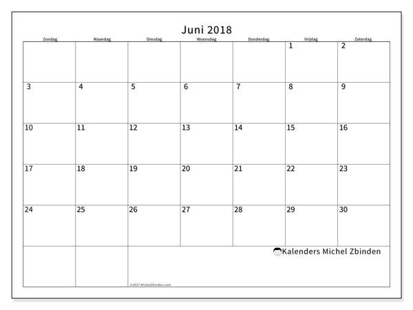 Kalender juni 2018 (53ZZ). Gratis kalender om af te drukken.