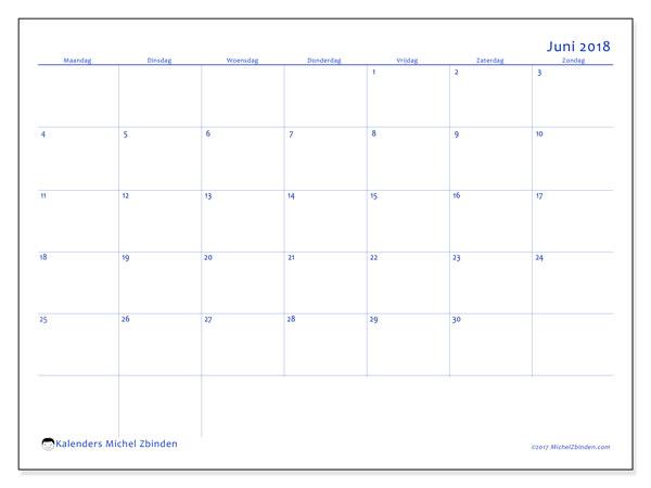 Kalender juni 2018 (55MZ). Kalender om gratis af te drukken.
