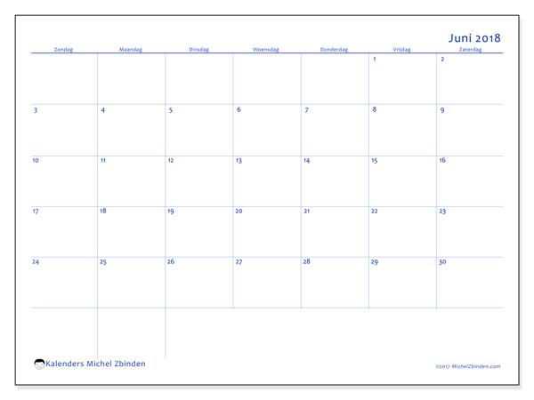 Kalender juni 2018 (55ZZ). Schema om gratis te printen.
