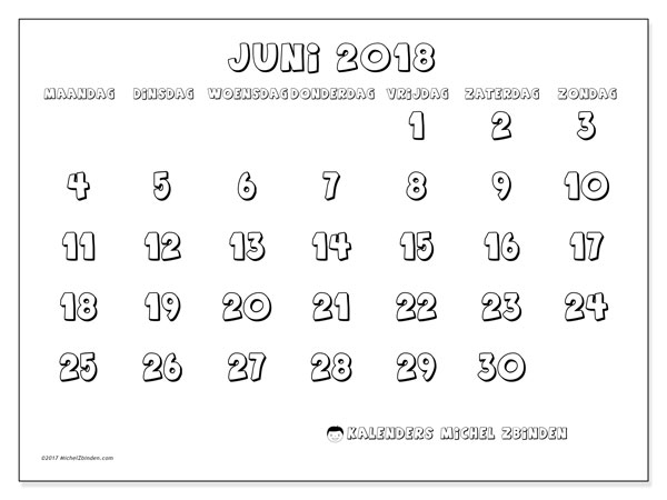 Kalender juni 2018 (56MZ). Agenda om gratis te printen.