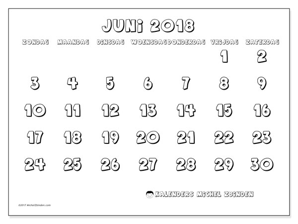 Kalender juni 2018 (56ZZ). Kalender om gratis te printen.