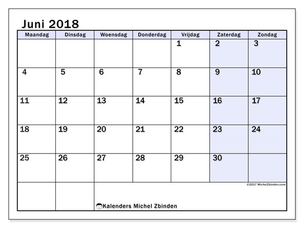 Kalender juni 2018 (57MZ). Agenda om gratis te printen.