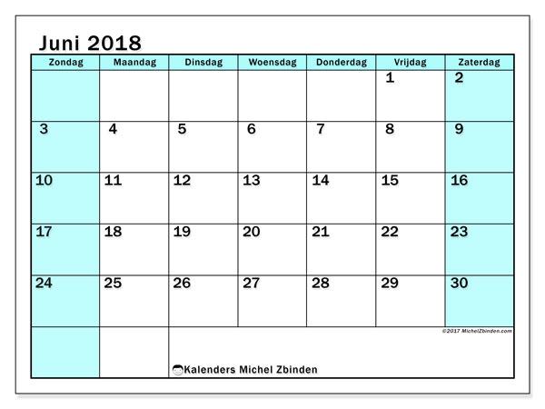 Kalender juni 2018 (59ZZ). Gratis kalender om af te drukken.
