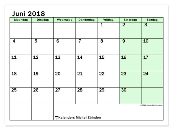 Kalender juni 2018 (60MZ). Kalender om gratis af te drukken.