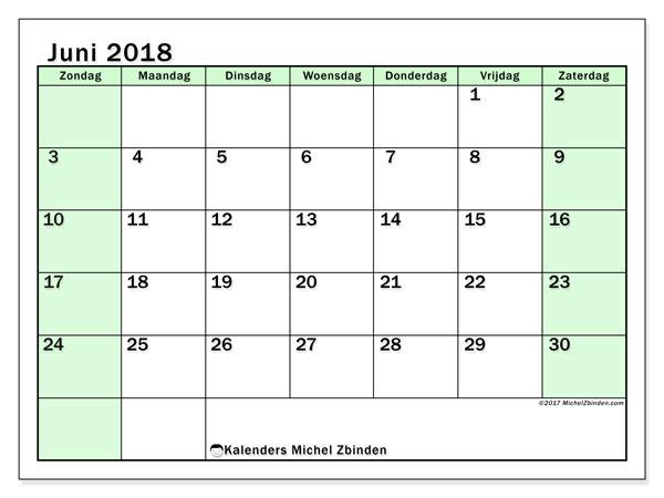 Kalender juni 2018 (60ZZ). Gratis afdrukbare kalender.