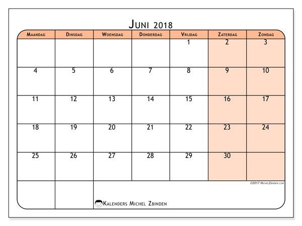 Kalender juni 2018 (61MZ). Kalender voor de maand die gratis moet worden afgedrukt.