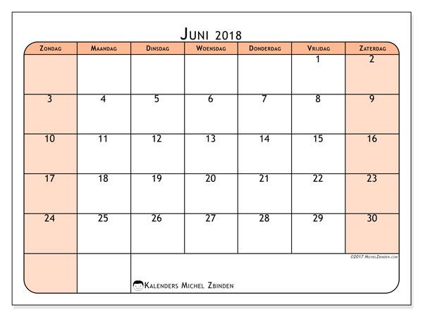 Kalender juni 2018 (61ZZ). Kalender voor de maand die gratis moet worden afgedrukt.