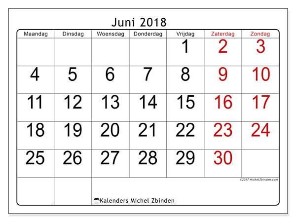 Kalender juni 2018 (62MZ). Kalender om gratis te printen.