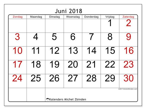 Kalender juni 2018 (62ZZ). Gratis kalender om af te drukken.