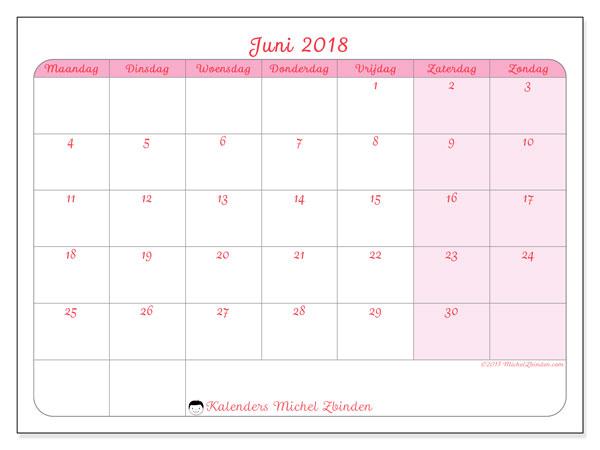 Kalender juni 2018 (63MZ). Maandkalender om gratis te printen.