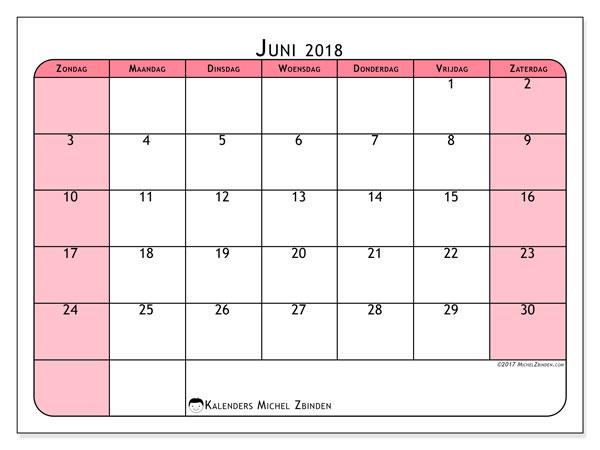Kalender juni 2018 (64ZZ). Gratis kalender om af te drukken.