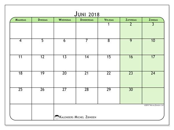 Kalender juni 2018 (65MZ). Agenda om gratis te printen.