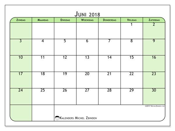 Kalender juni 2018 (65ZZ). Gratis kalender om af te drukken.