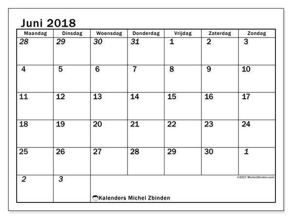 Kalender juni 2018 (66MZ). Kalender voor de maand die gratis moet worden afgedrukt.
