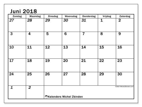 Kalender juni 2018 (66ZZ). Kalender om gratis af te drukken.