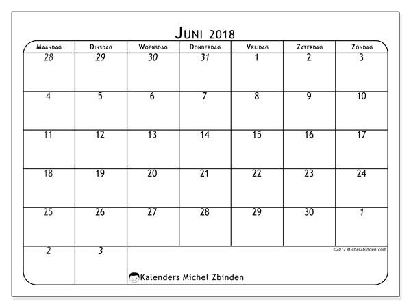 Kalender juni 2018 (67MZ). Kalender om gratis af te drukken.