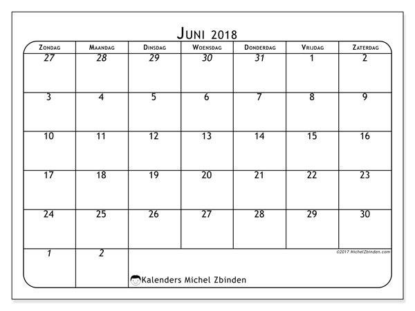 Kalender juni 2018 (67ZZ). Gratis kalender om af te drukken.