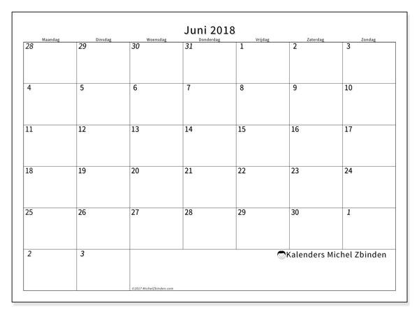 Kalender juni 2018 (70MZ). Agenda om gratis te printen.