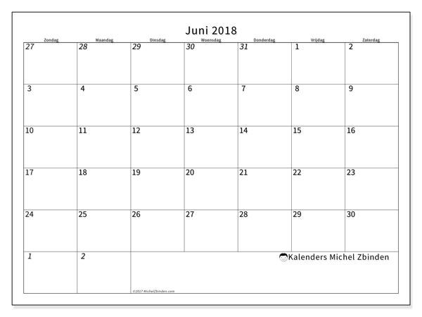 Kalender juni 2018 (70ZZ). Kalender voor de maand die gratis moet worden afgedrukt.