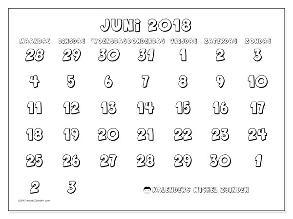 Kalender juni 2018 (71MZ). Gratis afdrukbare kalender.