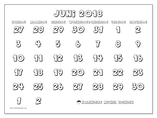 Kalender juni 2018 (71ZZ). Kalender om gratis te printen.