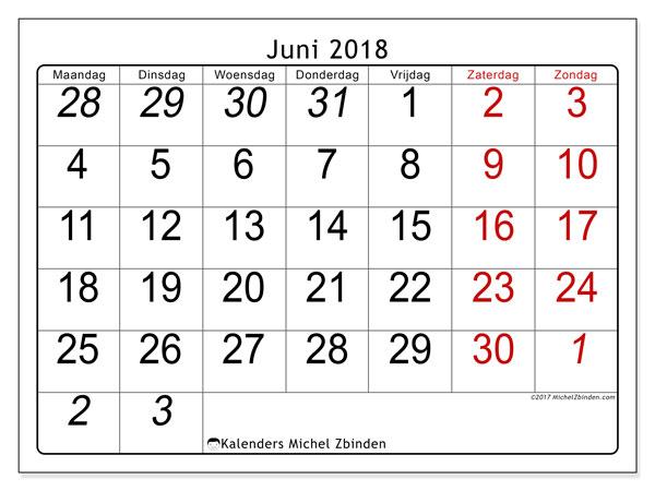Kalender juni 2018 (72MZ). Agenda om gratis te printen.