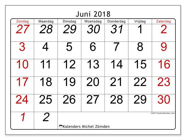 Kalender juni 2018 (72ZZ). Gratis kalender om af te drukken.